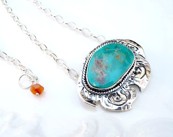 Polynesian Turquoise Pendant - Battle Mountain Blue Gem Turquoise, .925 Sterling Silver, Carnelian, OOAK Necklace