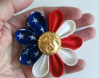 Patriotic American Flag Silk Flower Pin with Gold Marines Eagle Button - Boutonniere in Red White and Blue - Handmade in USA