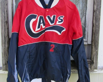 70s Cavs No 2 Baseball Jacket by Speedline Athletic Wear, Men's L // Vintage Navy and Red Varsity Jacket