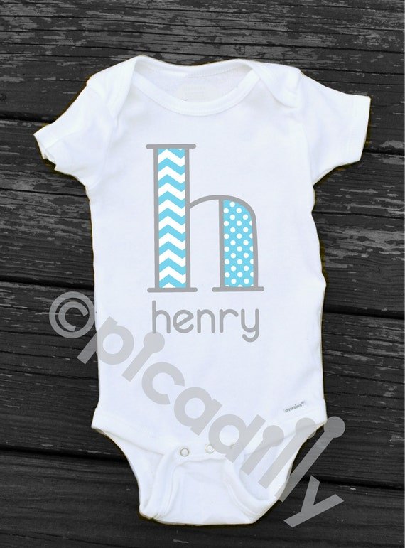 Baby BOY or Toddler Boy CHEVRON MONOGRAM Initial Personalized
