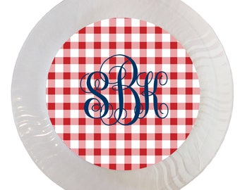 Red Gingham with Icon Option Plastic Plates - Set of 12  sc 1 st  Etsy & Gingham paper plates | Etsy