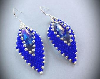Handmade earrings, seed bead earrings, Peyote earrings,  leaves earrings, Russian leaves earrings, Gift for her, beaded earrings