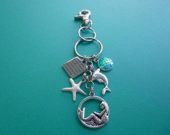 May You Always Have a Shell...Beach Charm Key Chain, Mermaid Charm Key Chain, Message Charm Key Chain, Mermaid Purse Charm, Zipper Pull, K51