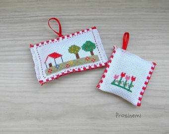 Lavender pillow sachets, hand embroidered farm house, red tulips, set of two, bedroom decor, eco friendly, fragnance
