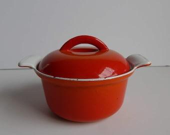 Mini Descoware Cast Iron Enamel Casserole Dish / Orange / Made in Belgium