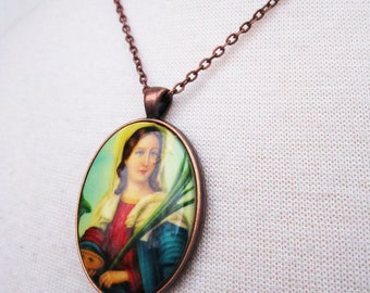Mary Mary Necklace - Virgin Mary cabochon on copper necklace