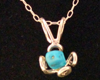 Sterling Silver .925 Single Flower Pendant, 1 Turquoise Bead. FREE SHIPPING.