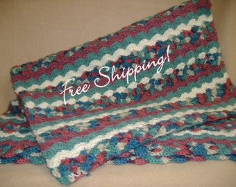 Afghan Throw Lap Child Crib Shell Stripe Hand Crocheted New Great Gift Free Shipping!