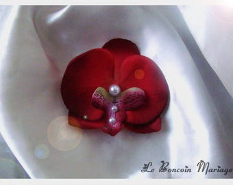 artificial red Orchid hair clip