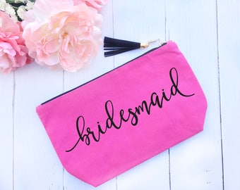 Customized Canvas Makeup Bag Pink // Makeup Pouch, Pen Pouch, Pink Pouch, Pink Makeup Bag, Custom Makeup Bag, Gift for Her