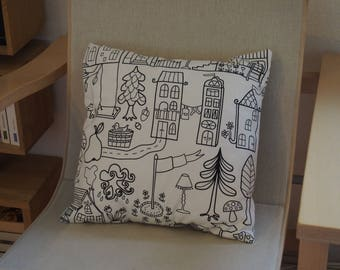 Square coloring cotton Cushion cover