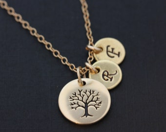 Family Tree Necklace . Monogram Necklace . Gold Initial Necklace . Gold Family Tree Necklace . ONE OF A KIND Necklace. tree pendant.