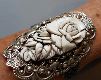 White Floral Victoriana Antiqued Silver Cuff Bracelet  Exclusive Design, Victorian Filigree Bracelet with White Floral Cabochon
