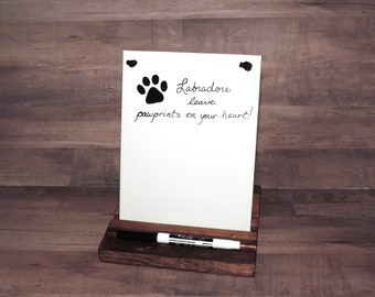 Labradors Leave Pawprints On Your Heart! Ceramic Tile Dry Erase Hanging Message Memo Board