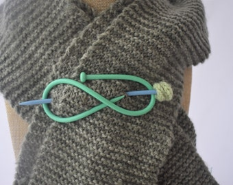 Mint green and blue shawl pin that doubles as a hair pin, handmade from up-cycled vintage knitting needles