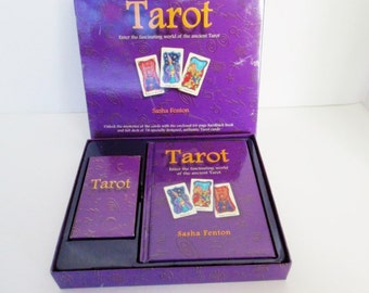 Tarot Card Deck, Boxed Book Set The Fascinataing World of the Ancient Tarot by Sasha Fenton, hard cover book 78 cards Major Minor Arcana