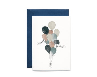 Birthday Balloons Illustrated Greeting Card