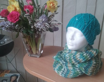 Turquoise lace knit hat   from silk and cotton