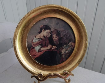 Italian Florentine Gold Gilt Round Framed Art Print - Round Gold Wood Frame - Made in Italy - G. Vanghi, Florence - Vintage Florentine Frame
