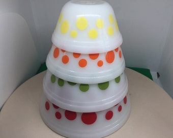 Vintage Federal Glass Set Polka Dot Nesting Mixing Bowls Retro, Mid-Century Modern, Federal Dot Bowls, Milk Glass Bowl, Retro Kitchen