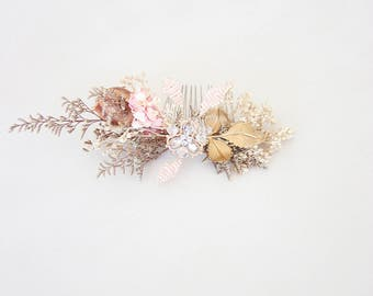 Rosé Champagne Gold Woodland Heaband Bridal Hair Comb Flower Hair Slide Flowers In Your Hair  Hair Slide Bridal Headpiece