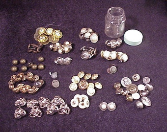 Lot of 130 Various Metal and Plastic Sewing Buttons, Sewing, Old