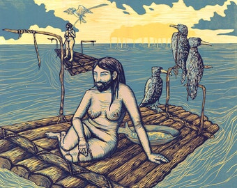 Raft, a reductive woodcut print with screen print
