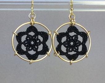 Peony doily earrings, black silk thread, 14K gold-filled