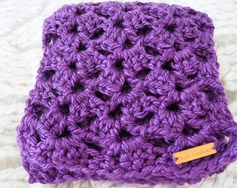 Crochet Scarf, Gifts for Her, Lacy Scarf, Scarves, Handmade, Ready to Ship, Crochet Scarves, Accessories, 20cm x 200cm, Purple, Soft
