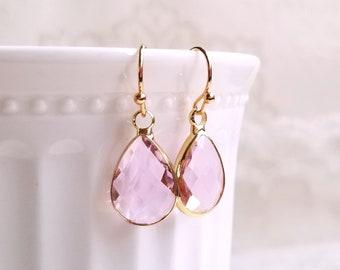 Blush earrings Crystal earrings Bridal jewelry Teardrop earrings Bridesmaid gift Bridesmaid earrings Gold earrings