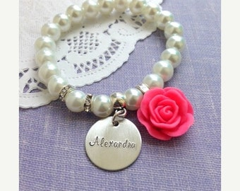 SPRING SALE Personalized, name, stretchy glass pearl rose bracelet. Design your OWN. Child sized.