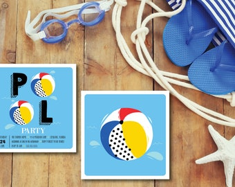 Beach Ball Pool Party DIY Printable Invitation with back design
