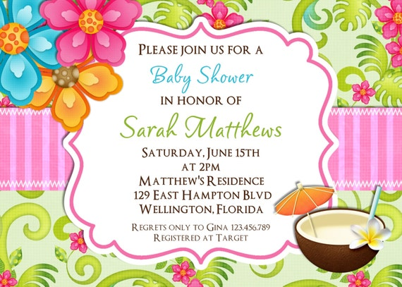 Tropical Themed Party Ideas Free Printables: Tropical Baby Shower Invitation Hawaiian Luau Party Brunch