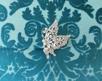 Butterfly Brooch.Rhinestone Butterfly Brooch.Crystal Butterfly Brooch.Butterfly Pin.Wedding.Bridal.Bride.Silver Brooch.Butterfly Broach.chic