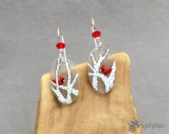 Short oval birch trees and cardinals earrings, hand drawn, sterling silver, Austrian crystal. Red cardinal on birch tree branch dangles