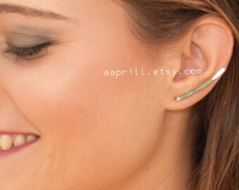 Ear climber, gold earclimber,Turquoise ear climber earrings, silver ear climber earrings, ear jackets, earclimbers gold, Ear crawler