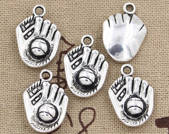 5 Baseball Glove Charm Pendant 20mm x 14mm - Antique Silver Plated - Jewelry Making