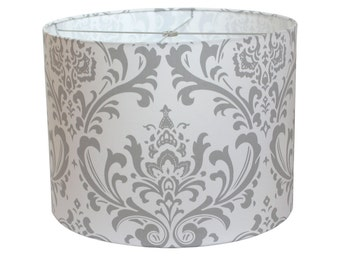 Lamp Shade Lampshade Traditions by Premier Prints Storm Gray Grey Damask Made to Order