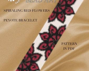 Peyote pattern for bracelet - Spiraling red flowers peyote bracelet cuff pattern in PDF instant download