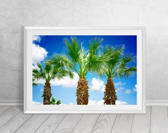 Palm Trees on the beach, South of France, Landscape, Nature, Photography, Downloadable Art, Printable Art, Modern Home Decor,