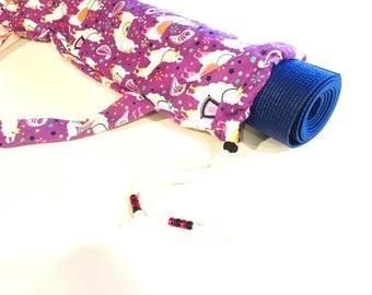 Purple Party Llama Yoga Mat Bag, Yoga Bag, Pilates Bag, Exercise Bag, Meditation Mat Bag, Gym Bag, Yoga Teacher Gift, Beads, Barre, Llama
