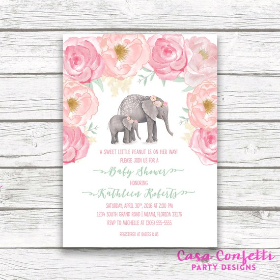 Pink Elephant Baby Shower Invitation Boho Baby Shower Floral