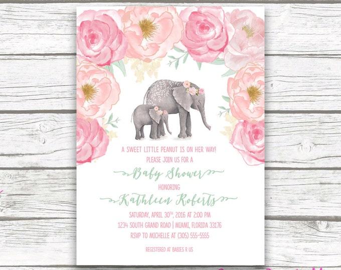 Pink Elephant Baby Shower Invitation, Boho Baby Shower, Floral Girl Baby Shower Invite, Watercolor Rose Little Peanut Printable Invitation