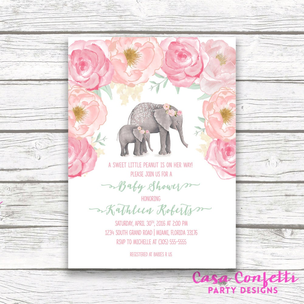 Pink Elephant Baby Shower Invitation Boho Baby Shower Floral