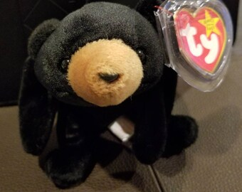 BLACKIE the Bear, Retired, Original, Beanie, Babies, OBO, no Stamp, 1993, pellets, Vintage