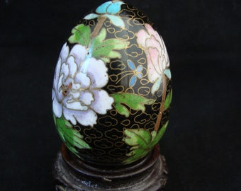 Vintage Chinese Cloisonne' Enamel Egg, Ebony with Chrysanthemums and Butterfly, includes Wooden Stand