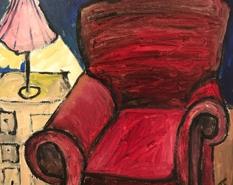 "Red Chair, 12""x12"", Free Shipping"