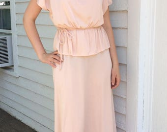 70s Grecian Dress Maxi Goddess Formal Gown Vintage Pale Pink S