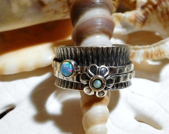Sterling Silver Opal Spinner Ring Flower Motif Wide Band Movable 8.74g SZ 9