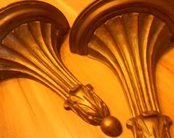 """Florentia Wooden Sconces, Gold Tone, Made in Italy, Vintage Pair, 12"""" by 10"""" by 5"""""""